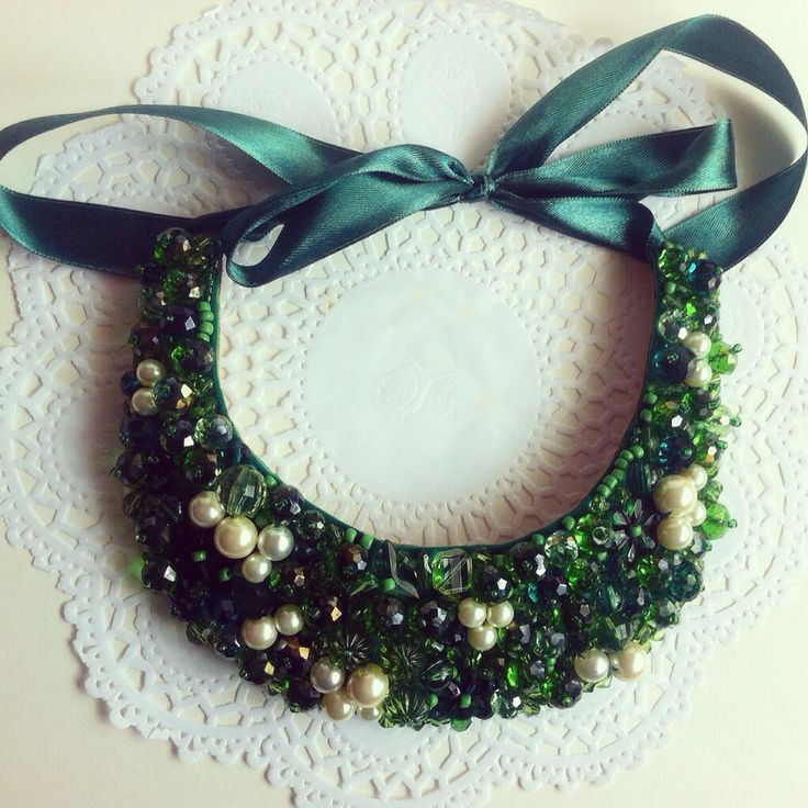 Handmade green embellished pearl statement necklace
