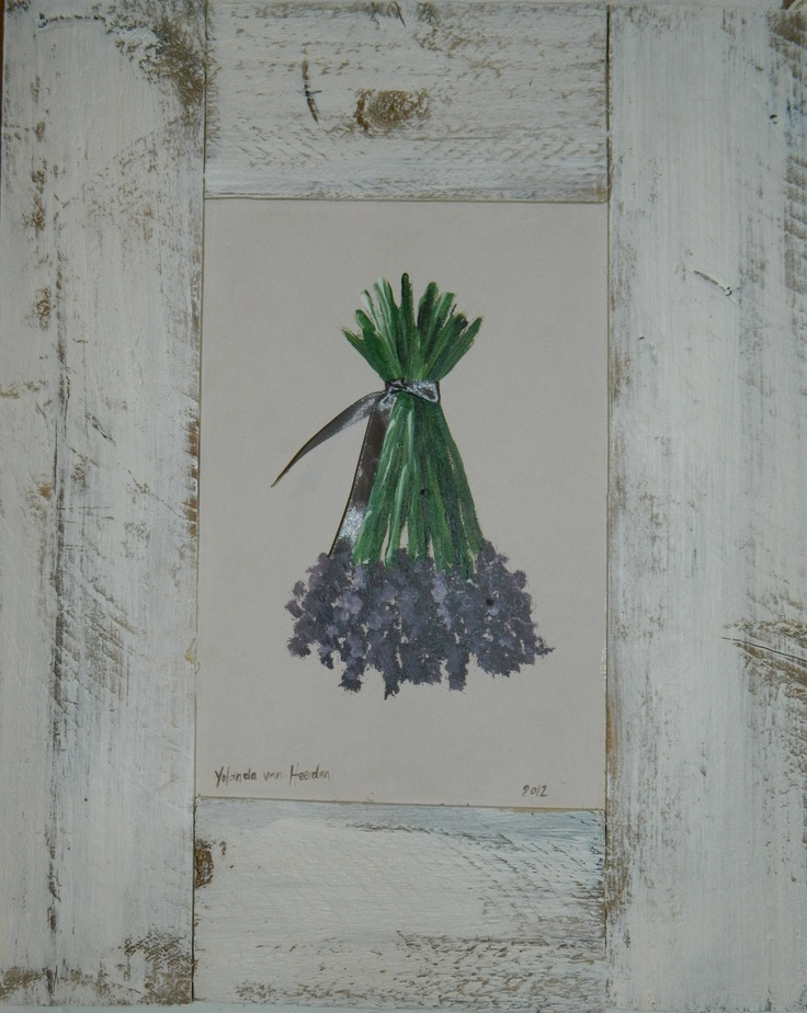 Lavender lovers, this lovely painted framed hanging lavender bush and more, available at www.ietsienice.co.za