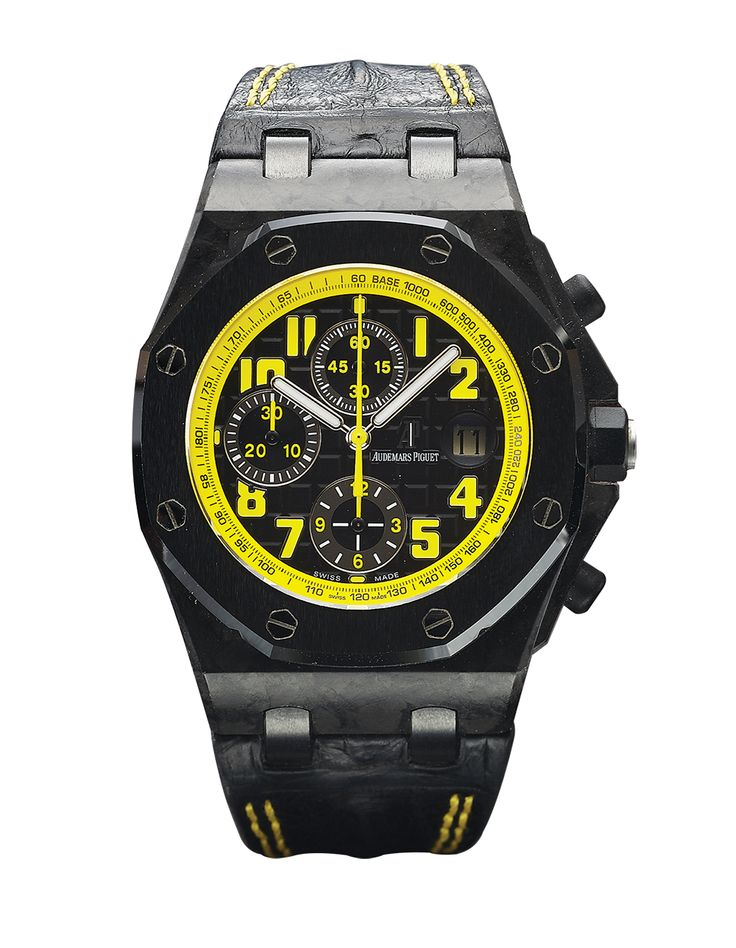 #AUDEMARS #PIGUET Royal Oak REF. 26176 BUMBLEBEE Audemars Piguet, Used, Fine, large, tonneau-shaped, octagonal bezel, self- winding, water-resistant, forged carbon fiber, titanium, stainless steel, rubber and Ceramic wristwatch with date, round button chronograph, registers, tachometer and an Audemars Piguet titanium and PVD-coated deployant clasp. #buy