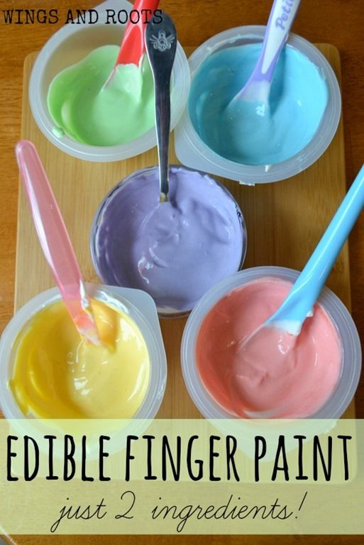 edible finger paints for babies Yoghurt and food colour!