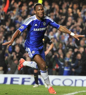 Didier Drogba scored the only goal as Chelsea stunned holders Barcelona  to score a 1-0 upset victory in their Champions League semi-final  first-leg match at Stamford Bridge.
