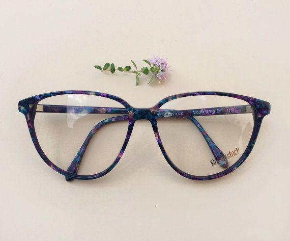 80s Rodenstock eyeglasses / Vintage deadstock womens frames / murble blue hipster sunglasses / multicolour Designer Eyewear by Skomoroki