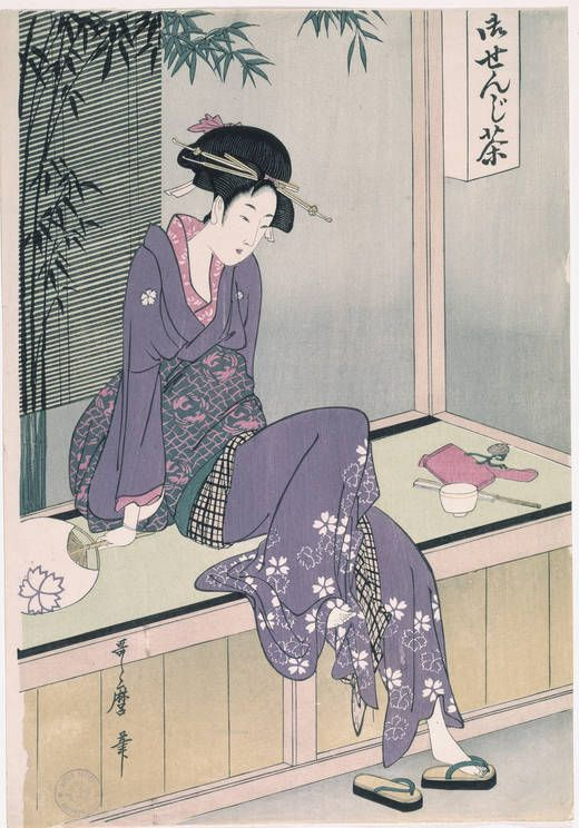 Woman Sitting on Veranda, c. 1798, by Kitagawa Utamaro (1753-1806), Museo Nacional del Prado (Spain).