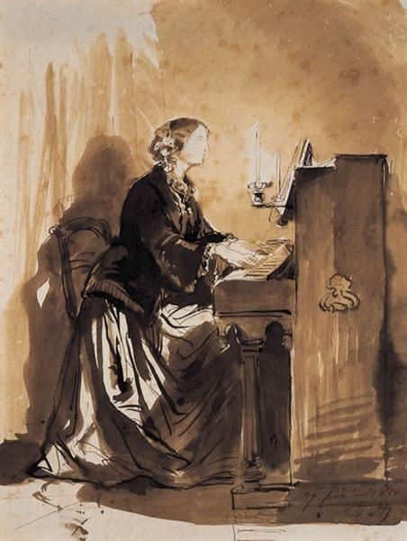 Countess Potocka Playing Piano, 1851 by Paul Delaroche. Romanticism. portrait