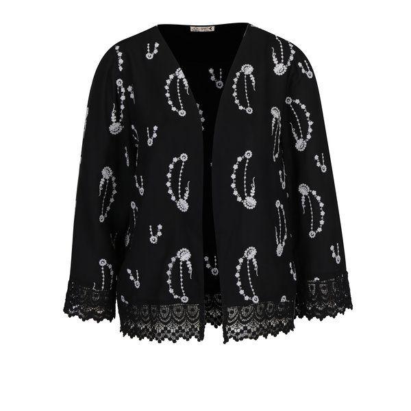Cardigan negru cu broderie florala si dantela M&Co