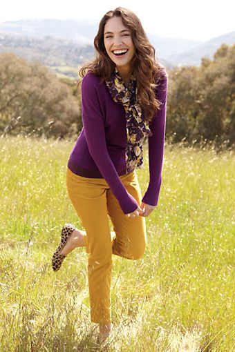 I want this whole outfit! (Women's Long Sleeve Drop Shoulder Merino Scoopneck Sweater from Lands' End)