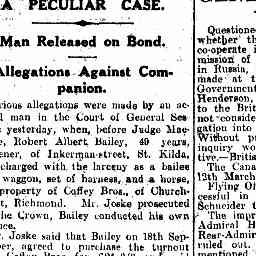 BAILEY, Robert Albert. Accused in a court case. The Age, 11/2/1931, p. 6, 'A peculiar case'.