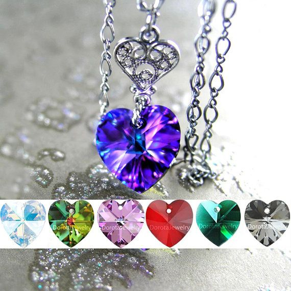 Dainty purple heart necklace featuring Swarovski crystal pendant suspended from a Sterling silver heart charm and Sterling silver chain. You have options for different color crystal hearts, in the drop down menu. More details: - ALL Sterling Silver (I oxidized/darkened it, for an
