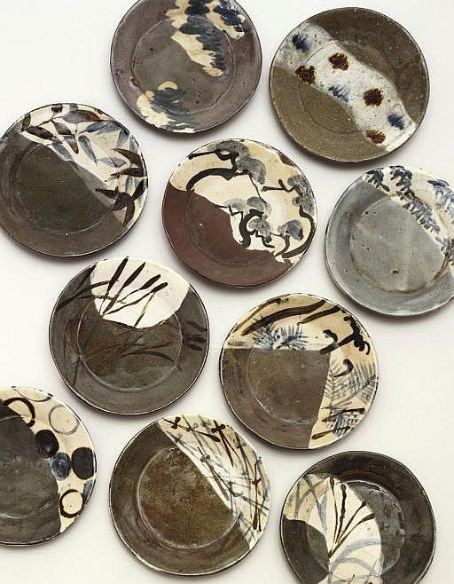 Ogata Kenzan - Set of Ten Dishes with Grasses, Pine Trees and Bamboo Leaves