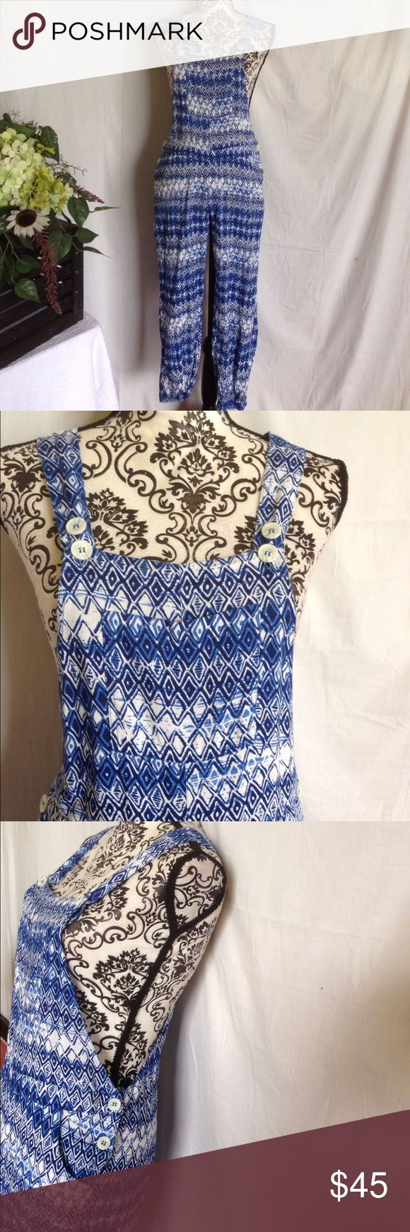 Jessica Simpson Cobalt Aztec Overalls Size large. Like new. Pocket on front. Jessica Simpson. Cobalt and white Aztec print. No flaws. Free gift Jessica Simpson Pants Jumpsuits & Rompers