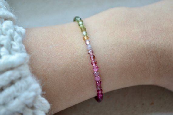 Watermelon Tourmaline Hill Tribe Silver Gemstone Beads Bracelet 925 Silver Clasp
