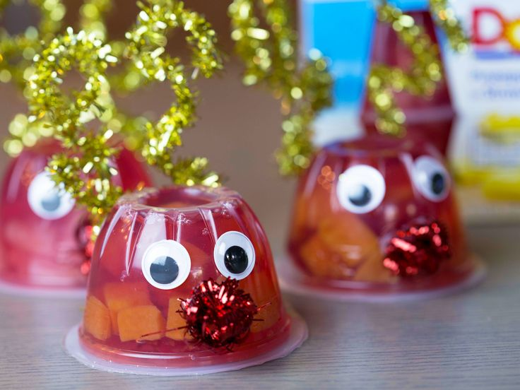 Fruit Cup Crafts | Break out the glue gun and get crafty with your DOLE® Fruit Bowls! Make an adorable Rudolph the Red-Nosed Reindeer by attaching googly eyes, glitter wire antlers, and red pom-poms for the nose!