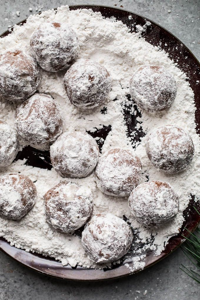 Easy Chocolate Peppermint Snowball Cookies that are made gluten-free with