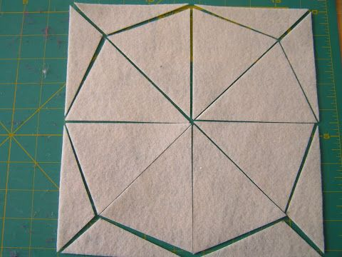 How to easily cut 8 triangle pennant banners from a 9x9 sheet (fabric, felt, paper).