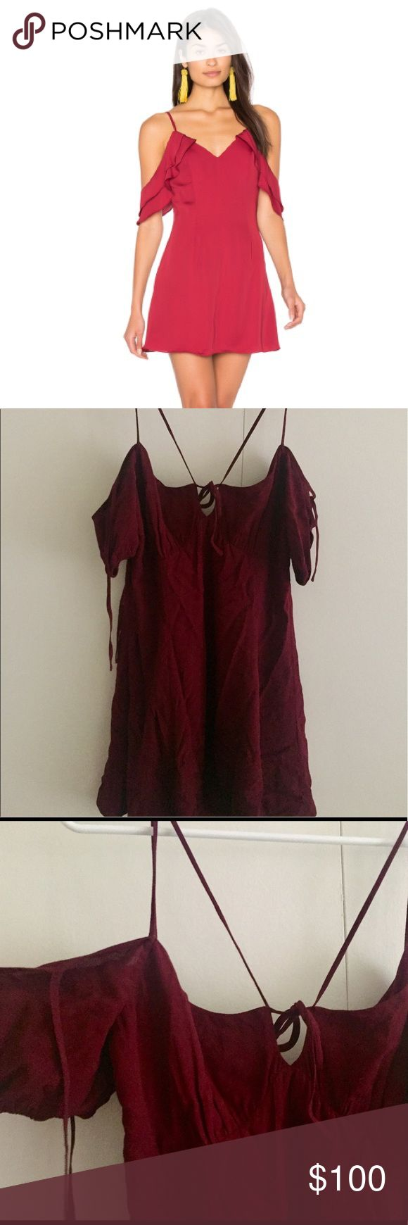 Majorelle Off-the-shoulder Mini Dress Majorelle Off-the-shoulder Mini Dress. Size Small. Bordeaux color. NEVER WORN! It's not the exact Majorelle dress in the cover photo but just want to show something similar from the same brand! They are technically both Bordeaux color but the cover photo makes it look a lot more red, it's more of a burgundy. Super cute ties on the shoulders and front of dress :) Majorelle Dresses Mini