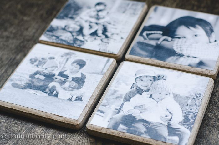 Coasters made of ceramic tile with photos  decoupaged on them! Great gift idea!