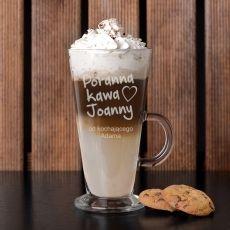 Grawerowana szklanka do latte PORANNA KAWA idealny na urodziny