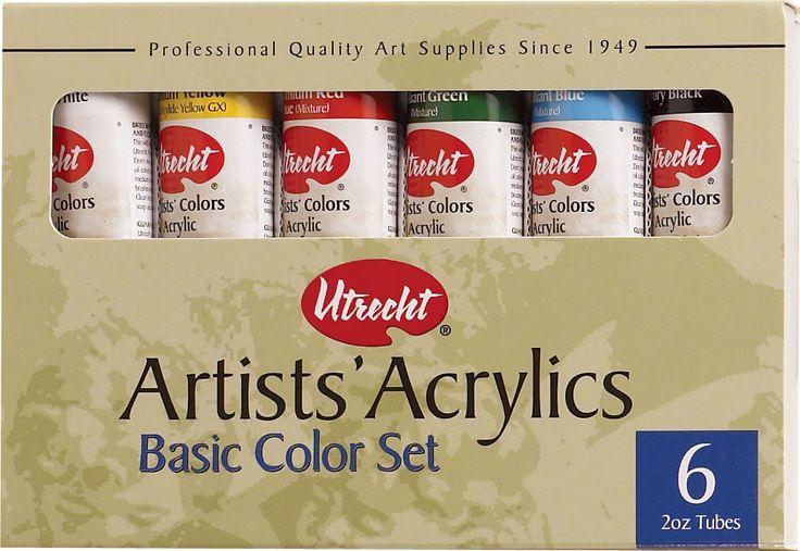 Utrecht Acrylic Sets - Basic Set, 6 colors, 2 oz tubes ...