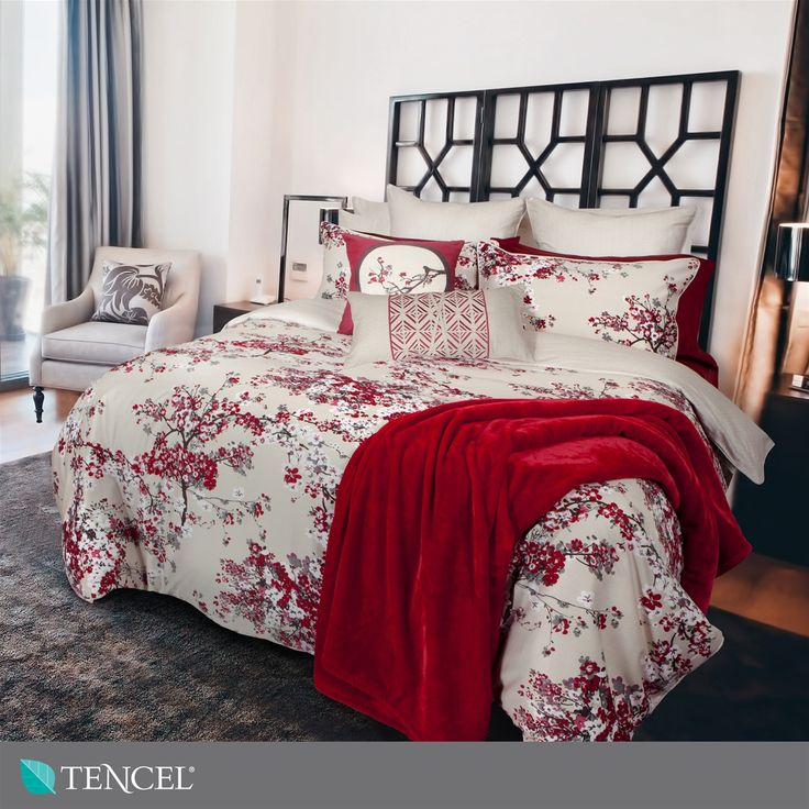 Carlingdale Designer Bedding: Misaki Collection | QE Home | a symbol of love, happiness and hope, this collection is sure to bring a joyful touch to any decor. Beautiful cherry blossoms are printed in shades of red, white and grey against an ivory ground.
