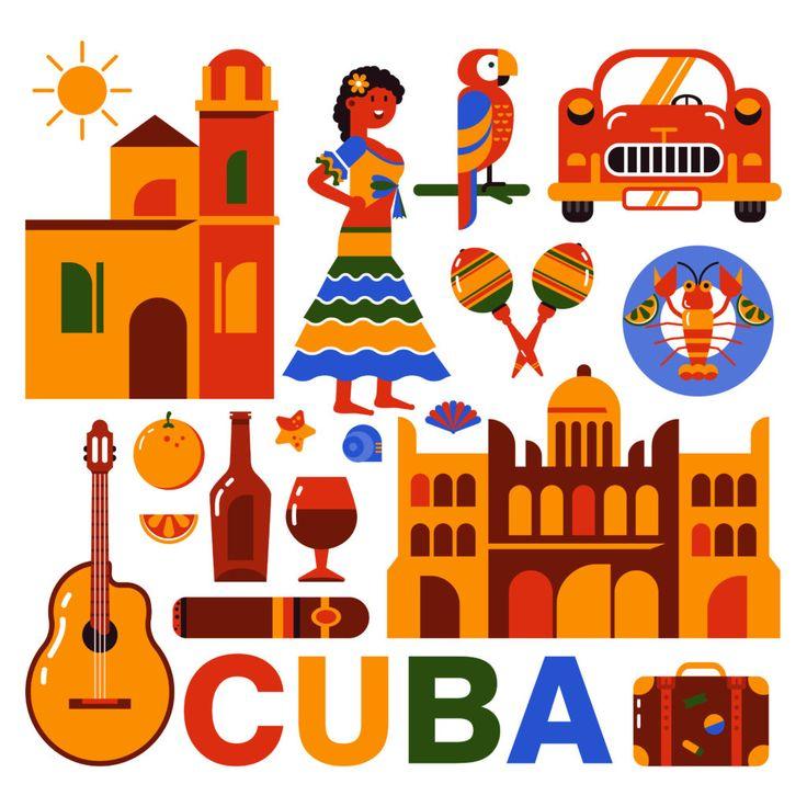 Микростоковая иллюстрация Куба. Гавана. Флэт иконки кубинской культуры и еды.  Набор 1.