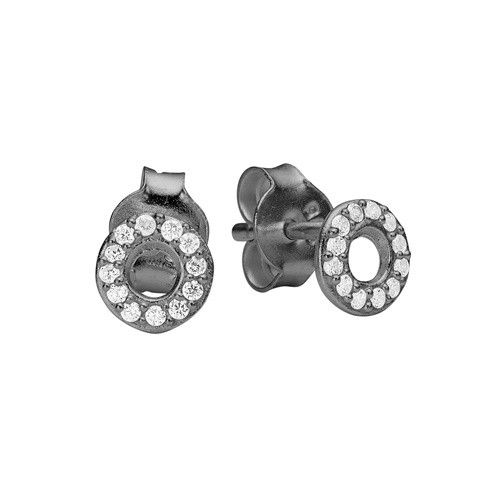 Stud, petit round CZ, black plated sterling silver