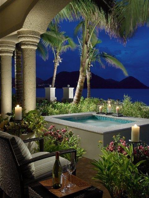 Outdoor serene settingBackyards Paradis, Beach House, Outdoor Spa, Backyards Patios, Hot Tubs, Fabrics Design, Plunge Pools, Outdoor Design, Front Porches