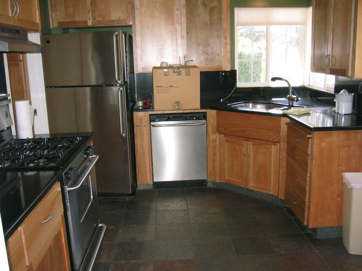 New Custom Kitchen Installation, Black Slate With Pine Wood Finishe. Tile  Kitchen Countertops ...