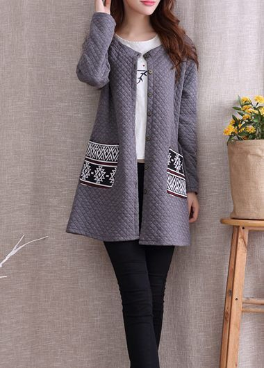 Grey Open Front Collarless Coat With Double Printed Pockets. $6 Off Over $45, 8 Off Over $55, Coupon Code: Halloween11, End Date: 10/31