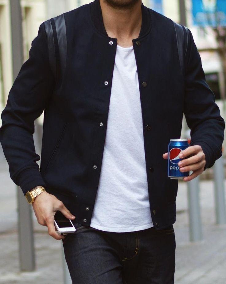 that jacket // menswear, mens style, mens fashion, t-shirt, varsity, street style