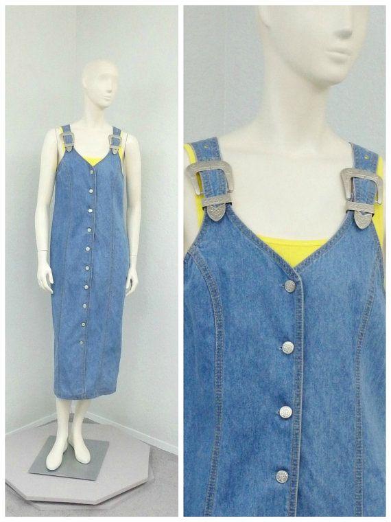 Vintage 80s Denim Jumper Dress Skirt Overalls by SprightlyVogue