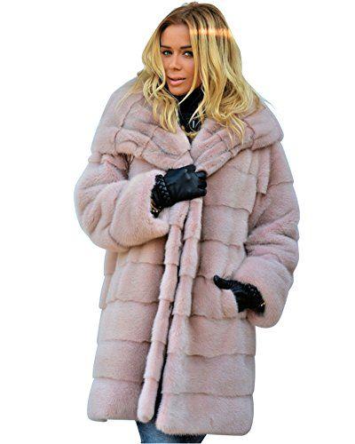 0fb2a84252f Aox Women Winter Overcoat Pink Faux Fur Warm Thicken Hoodie Casual Chic  Luxury Coat Jacket UK Plus Size S-3XL (2XL