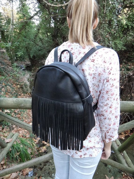 Melania Bag This Gorgeous Twininas Leather Backpack is Handmade, Black Colored, Genuine Greek Leather, stylish and classy . With an additional large