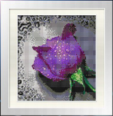 Purple Rose with Dew Drops. Beading Paint-by-number Cross Stitch Kit. Blue Moon Needlecrafts Diamond Painting DIY Kit. Size: 8.5 By 9.5 Inch...
