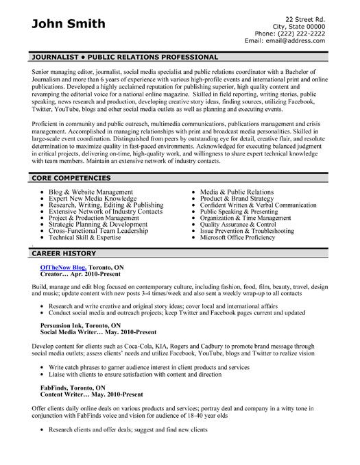 7 best Public Relations (PR) Resume Templates  Samples images on - Sample Public Relations Resume