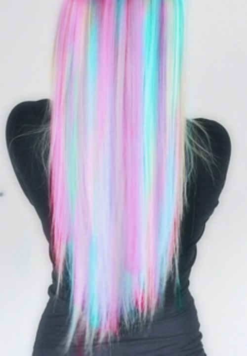 pastel rainbow hair it's so cute