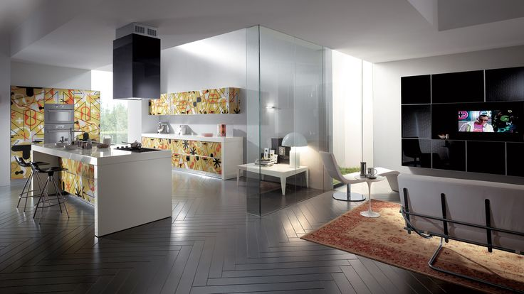 The charm of a shining material such as glass brings its glamour also to the living area