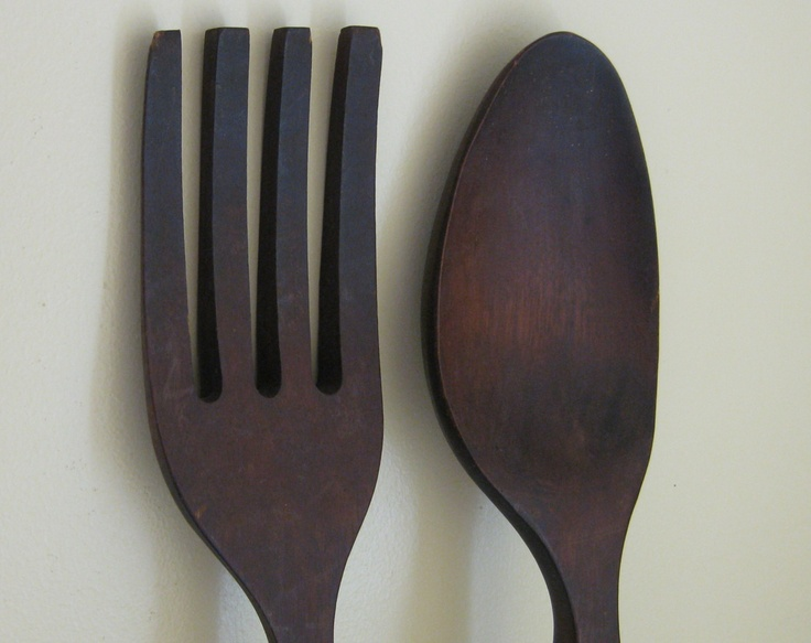 Large Wooden Fork and Spoon Wall Decor 28 inches long ...