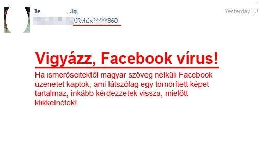 Facebook üzenet vírus