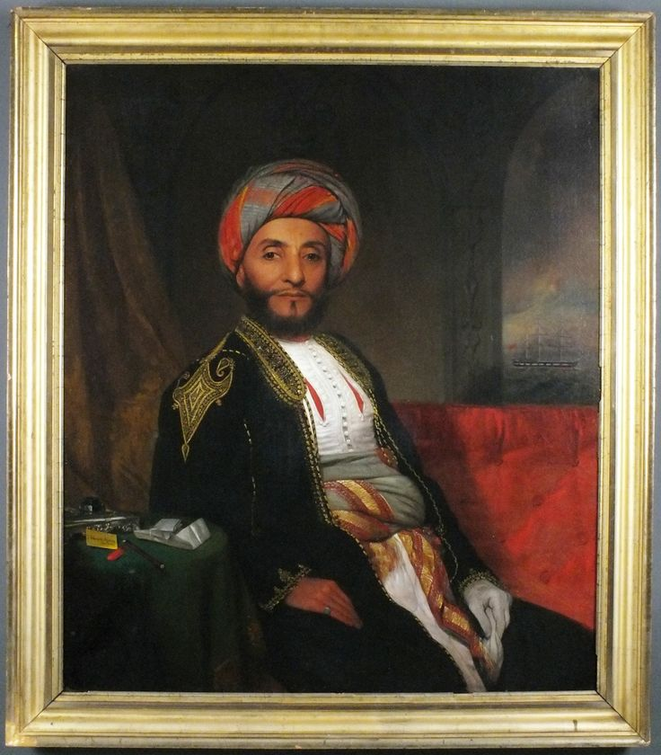 H.E Sheik Painting in frame Emissary H E Sheik Ahmed bin Numaan Al Kaabi. First envoy sent to New York U.S with Omani ship Sultanah in 1840. By Omani Sultan  H.H Sayyid Said bin Sultan bin Imaam AHmed AL Said - Sultan of Oman and Zanizbar 1840 -1856.