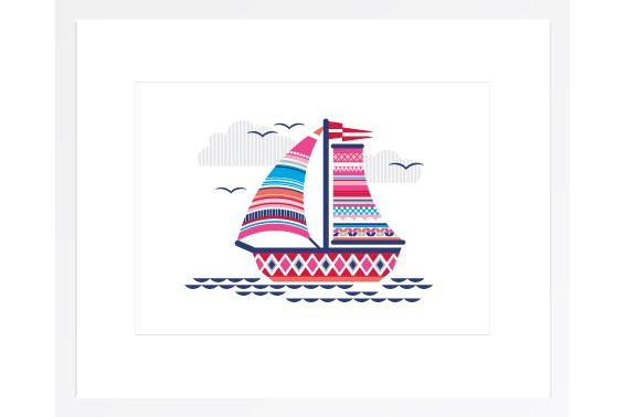 Sailing Boat Print    $30.00       Paper measures: 420mm x 304mm  This print has been designed to fit perfectly into IKEA frames with a picture height of 40cm, but is sold UNFRAMED.  Printed on crisp white, heavyweight card stock with a matt finish. Protected by a clear resealable cello bag and shipped in a rigid mailer.  - designed and printed in Sydney, Australia - 420 x 304mm - ships flat in a protective sleeve http://ellaleachdesigns.com/index.php