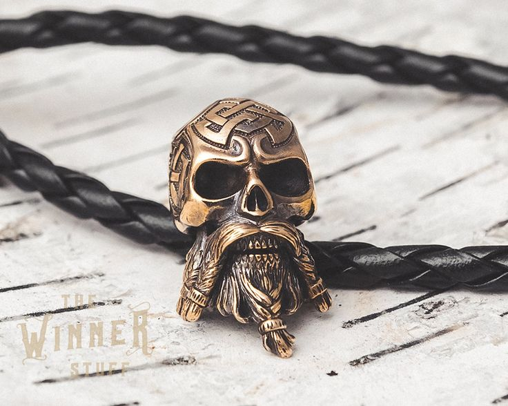 Bearded Skull - Paracord Knife Lanyard Bead in Bronze by TheWinnerStuff on Etsy