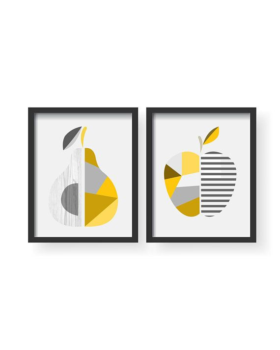 Apple Pear Yellow Gray Kitchen Poster Set, Yellow Gray Kitchen Decor ...