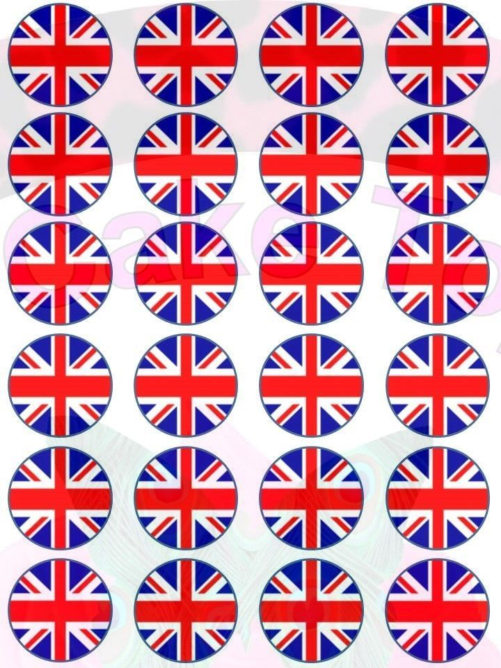 24  x Jack Union  Edible Wafer Paper Cake Cupcake Toppers approx 4 cm Round