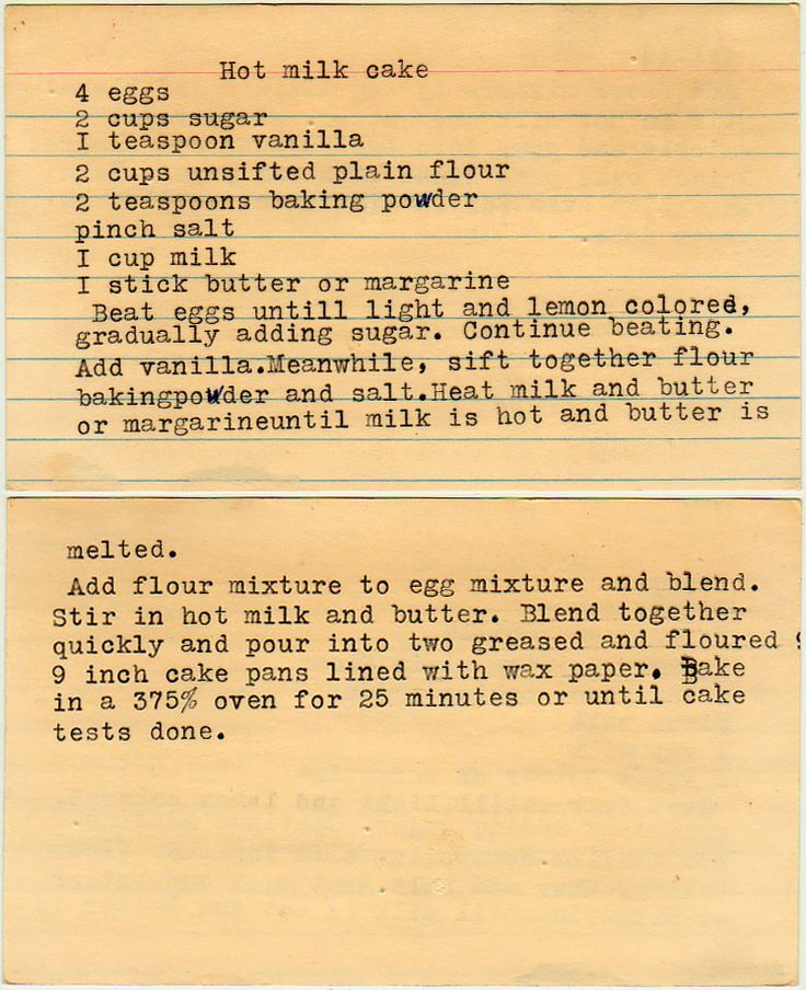 Hot Milk Cake; looks just like my grandma's recipe card
