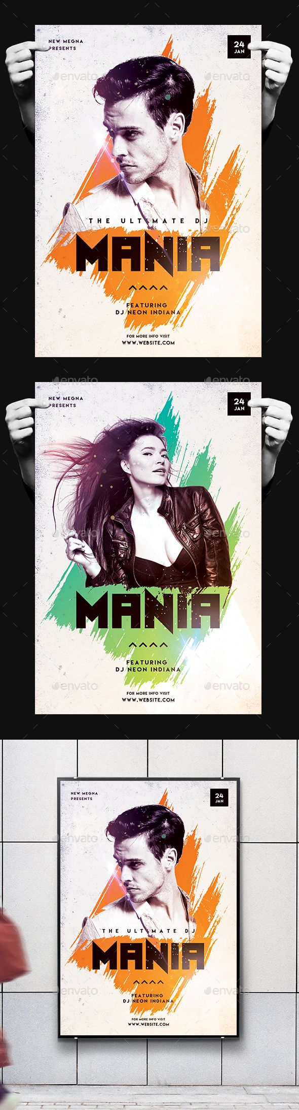 DJ Mania Poster/Flyer — Photoshop PSD #dj #concert • Available here → https://graphicriver.net/item/dj-mania-posterflyer/19407664?ref=pxcr