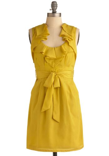 This dress is a bright pop of girlish delight. Classic enough to wear at a bridal shower or engagement party. Wear with a slightly messy updo, red lips, and a cat eye and you can't go wrong. $54.99