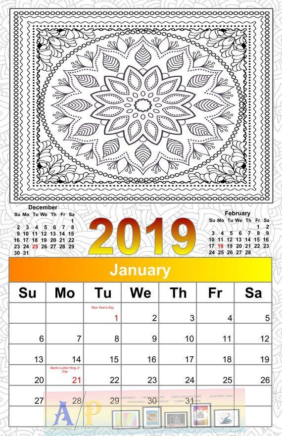 Printable 2019 Calendar Coloring Calendar 2019 Calendar Color