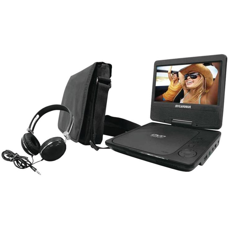 SYLVANIA SDVD7060-COMBO-BLACK 7 Swivel-Screen Portable DVD Player Bundle (Black)