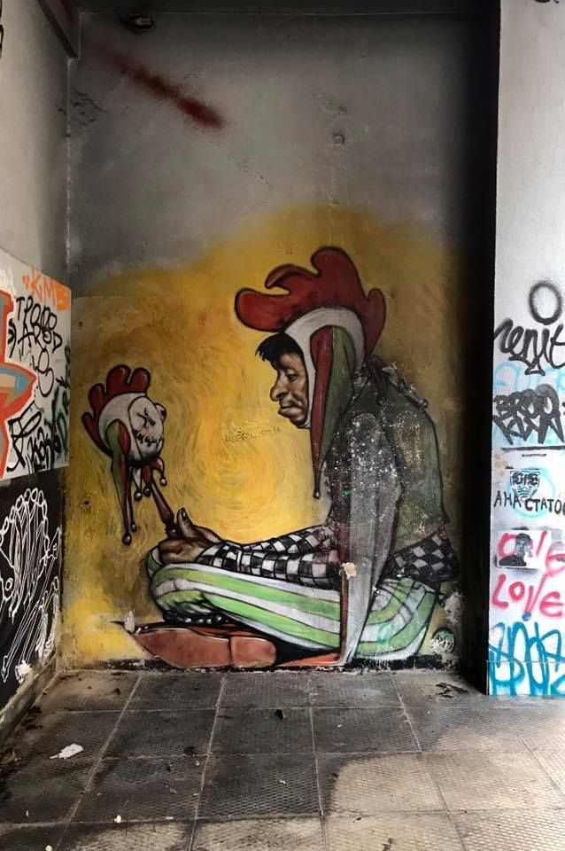"The ""Jobless Clown"" (2012) WD street art! Eresou Street, Exarchia"