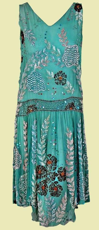 1920's Ethereal Turquoise Beaded Flapper Dress #Handmade